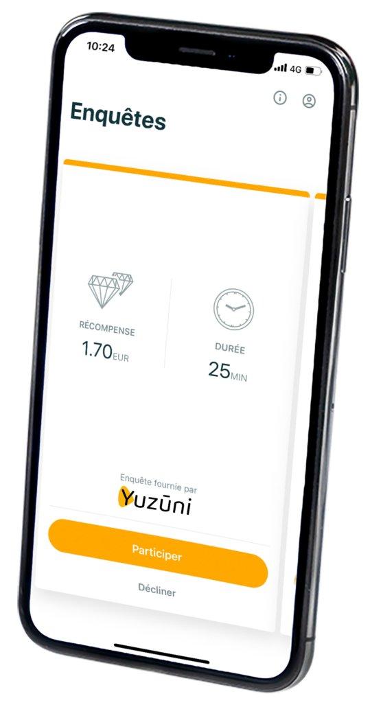 Yuzūni - eenvoudige betaalde enquêtes-app